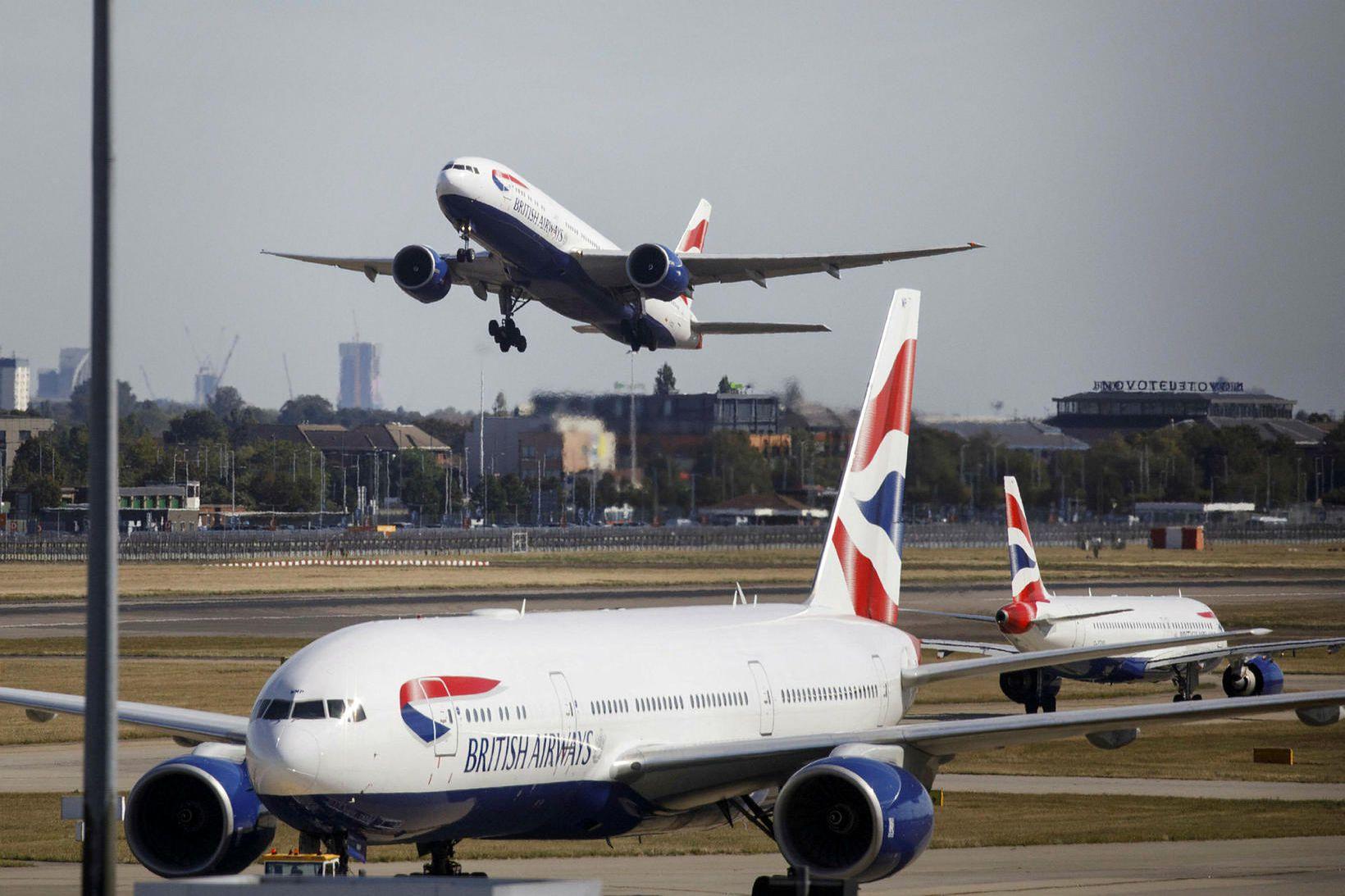 Flugvélar British Airways á Heathrow.