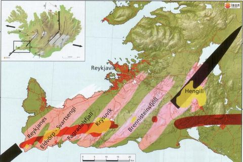 Volcanic systems on the Reykjanes peninsula are shown in pink. The red lines indicate the tectonic plate boundary, where earthquakes are common. Geothermal areas are marked in yellow. Black lines indicate fissure swarms.