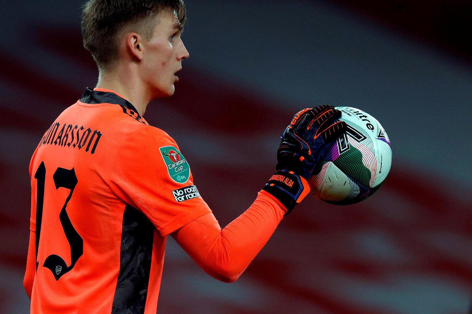 Rúnar Alex Rúnarsson kom til Arsenal í haust og Matt …