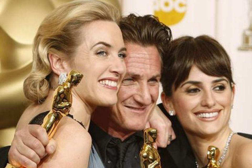 Verðlaunaleikararnir Kate Winslet, Sean Penn og Penélope Cruz.