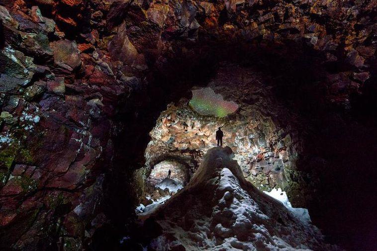 A photograph taken inside Raufarhólshellir cave.