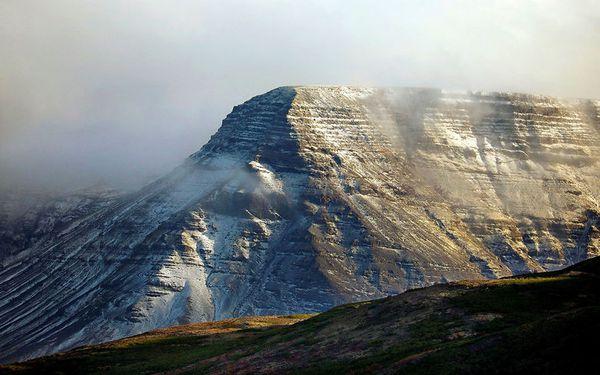 Snow in Mount Esja this morning.