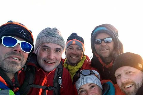 Icelandic President Guðni Th. Jóhannesson on top of Hvannadalshnúkur peak. He's second from the left.