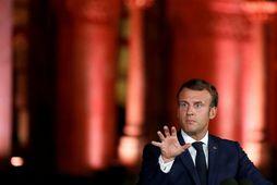 Emmanuel Macron hélt blaðamannafund í Beirút í kvöld.
