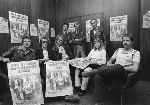 Magnús Kjartansson, Ragnheiður Gísladóttir og Pálmi Gunnarsson úr Brunaliðinu tóku þátt í átaksverkefni gegn reykingum árið 1978.