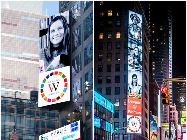 Icelandic Prime Minister Katrín Jakobsdóttir is on a sign at Times Square.