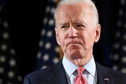 Joe Biden á blaðamannafundi.