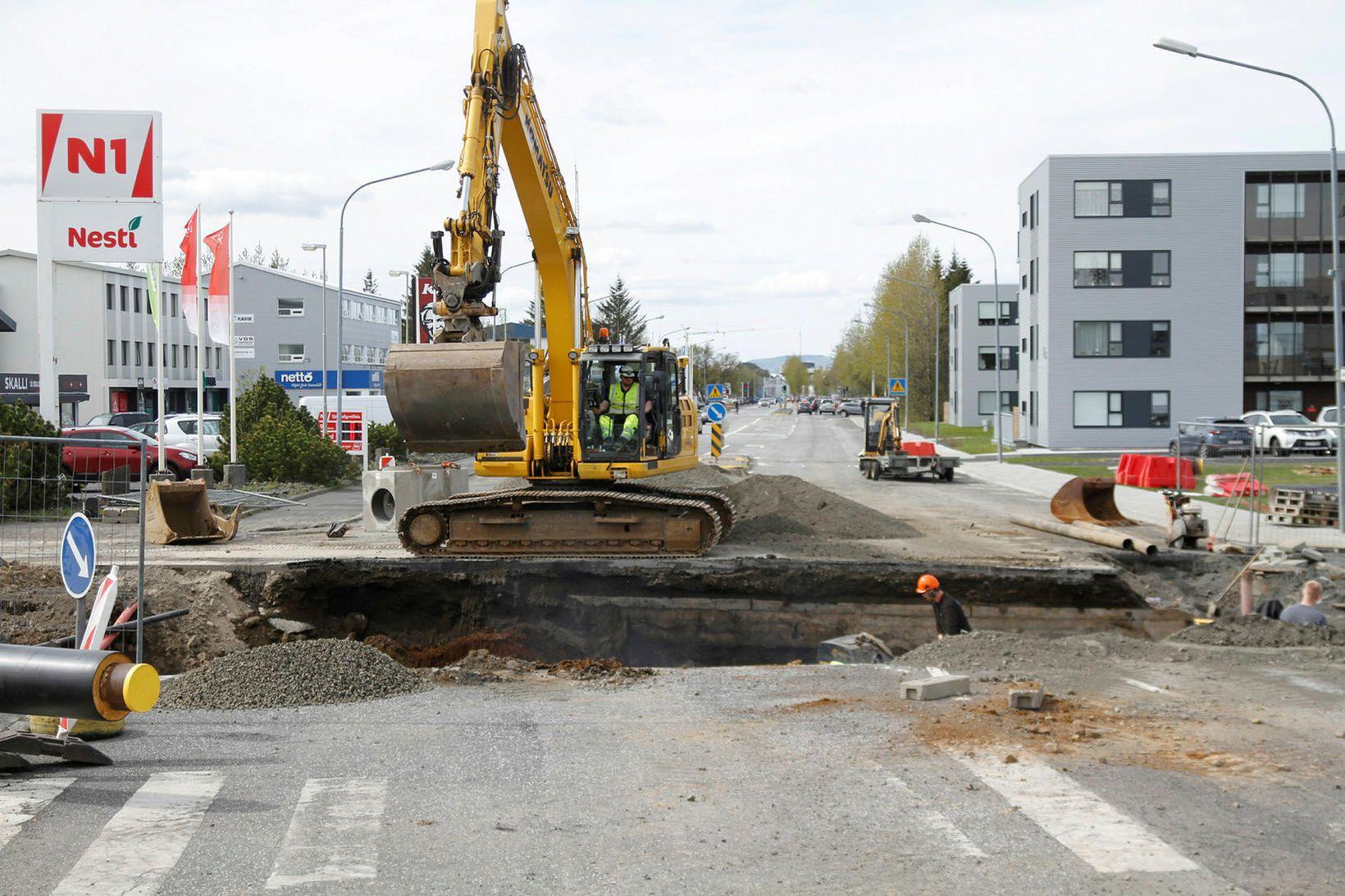 Framkvæmdirnar á Selfossi valda ökumönnum vandræðum.