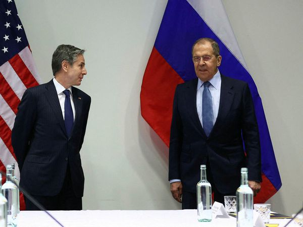 US Secretary of State Antony Blinken and Russian Foreign Minister Sergei Lavrov at Harpa Concert Hall.