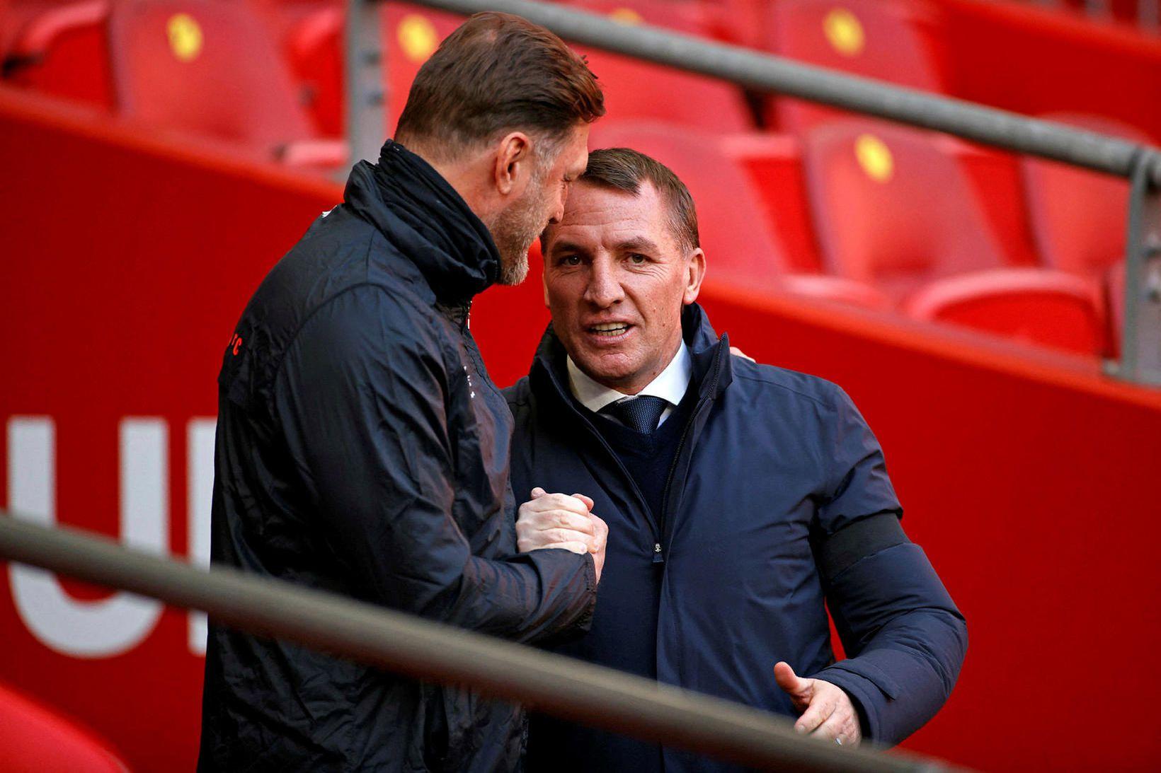 Ralph Hasenhüttl hjá Southampton og Brendan Rodgers hjá Leicester eru …