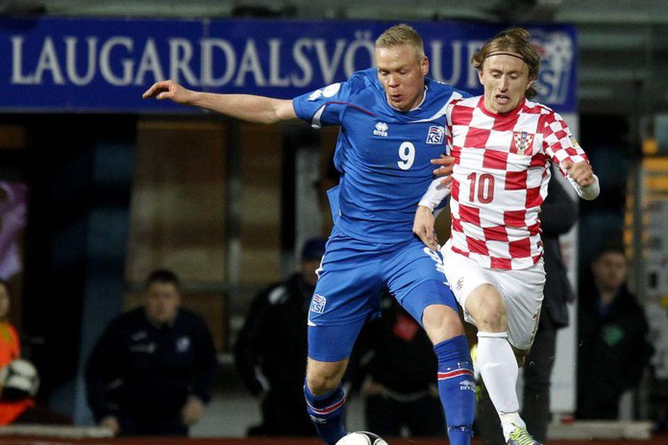 Kolbeinn Sigþórsson og Luka Modric