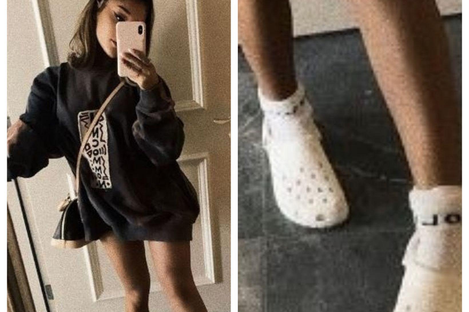 Ariana Grande birti mynd af sér í hvítum Crocs skóm …