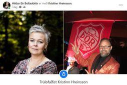 Hildur Eir Bolladóttir og Kristinn Hreinsson eru trúlofuð.