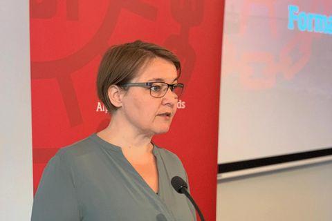 Drífa Snædal, forstei ASÍ, á formannafundi í dag.