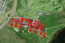 Skissan sýnir hugmynd að uppröðun húsa nýs hátæknisjúkrahúss á 15 hektara landi í kringum Vífils- …