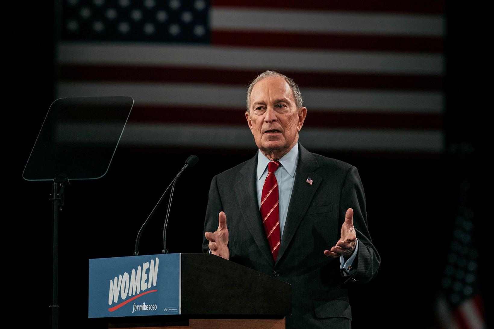 Michael Bloomberg á kosningafundi í New York fyrir helgi.