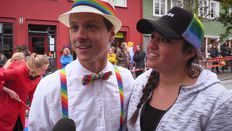 American tourists join in painting of rainbow for Reykjavik Pride
