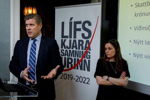 Frá kynningu á lífskjarasamningunum árið 2019.