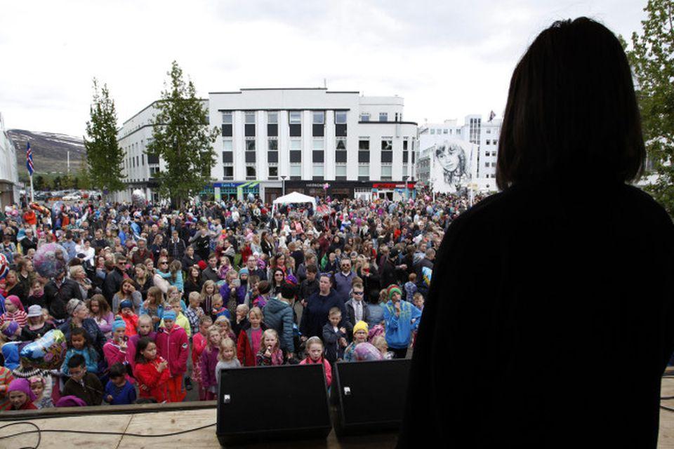 Frá hátíðarhöldum á Akureyri.