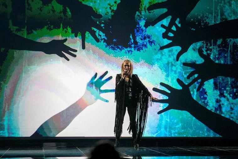 Greta Salóme on the Eurovision stage in Stockholm.