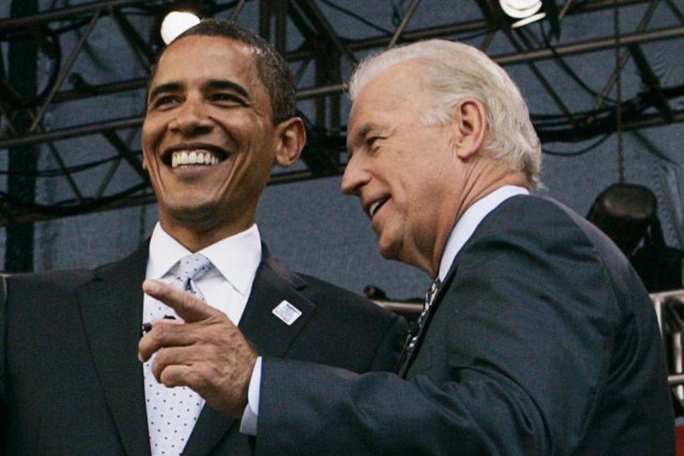 Obama og varaforsetaefni hans, Joe Biden.