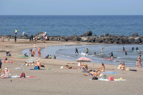 Ljósmynd tekin á Playa de Las Amaricas þann 28. júlí síðastliðinn.