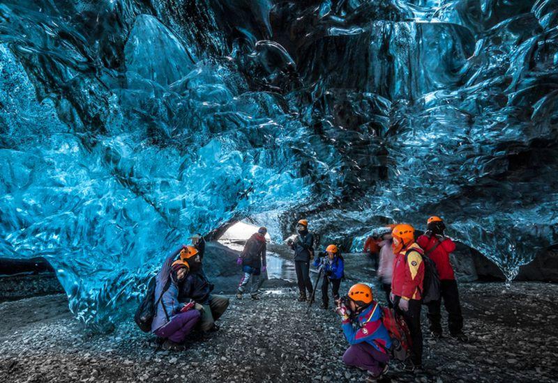From an ice cave in Vatnajökull glacier.
