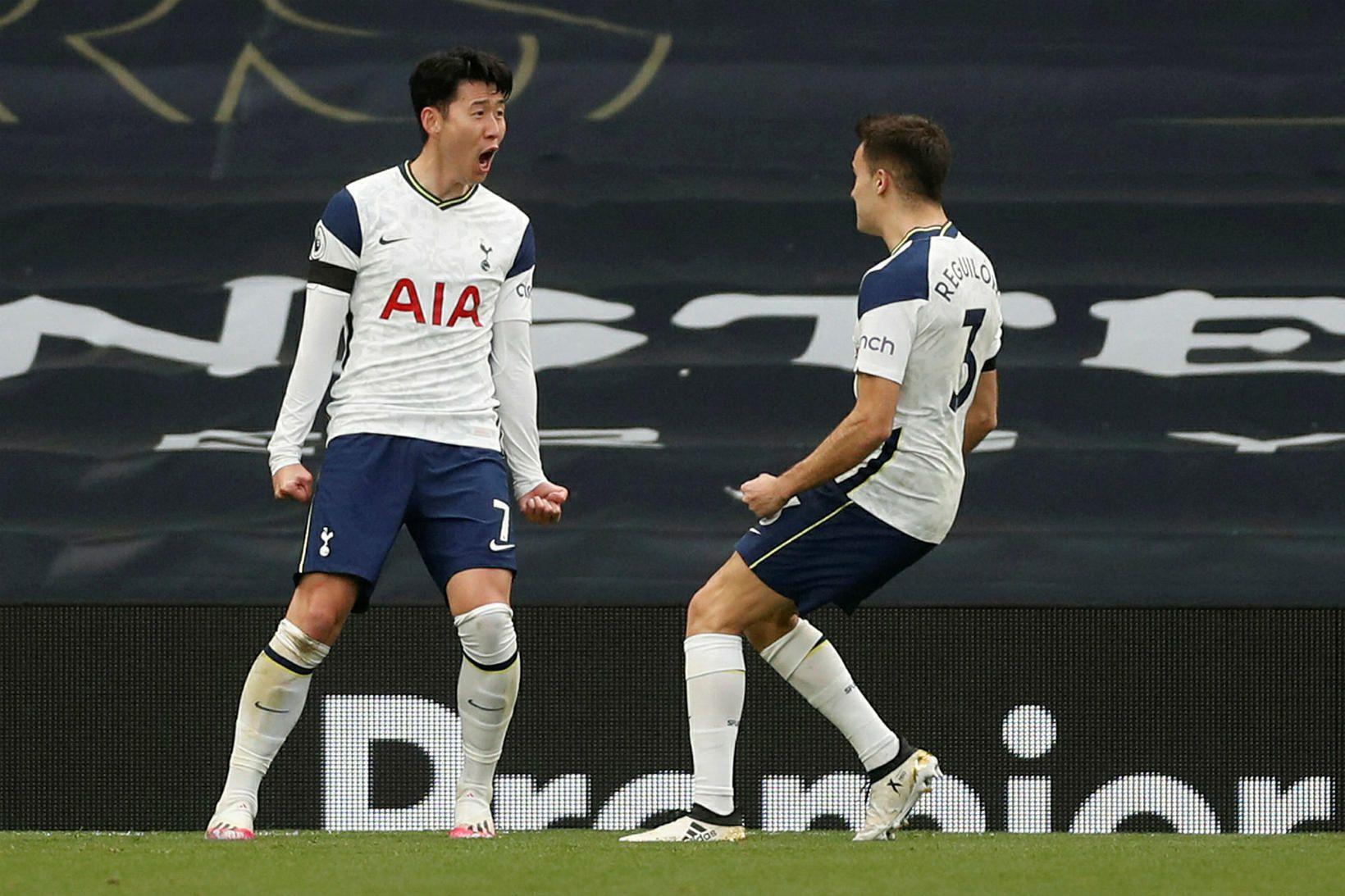 Son Heung-min fagnar eftir að hafa komið Tottenham yfir gegn …
