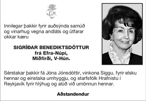 Sigríðar Benediktsdóttur