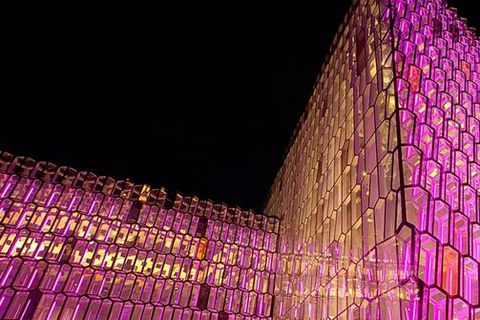 Harpa's facade is designed by artist Ólafur Elíasson. Next week, a new artwork will be premiered using the facade as  a canvas.