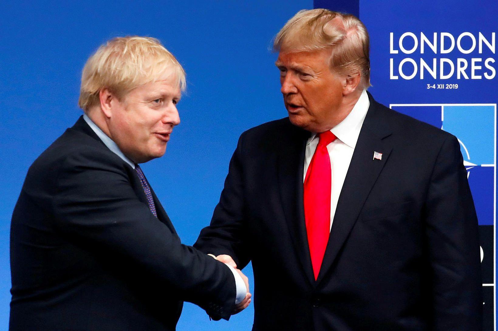 Boris Johnson forsætisráðherra Bretlands og Donald Trump Bandaríkjaforseti í London …