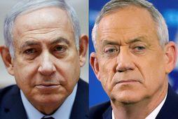 Benjamin Netanyahu, forsætisráðherra Ísrael og Benny Gantz, leiðtogi Bláhvítu hreyfingarinnar.