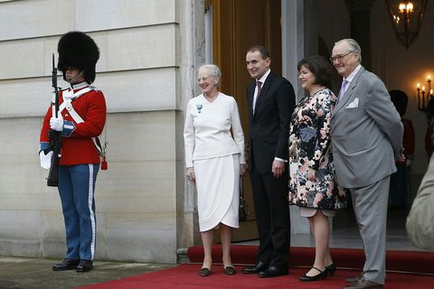 Guðni Th. Jóhannesson, President of Iceland, and his wife, First Lady Eliza Reid with the Queen and Prince of Denmark.