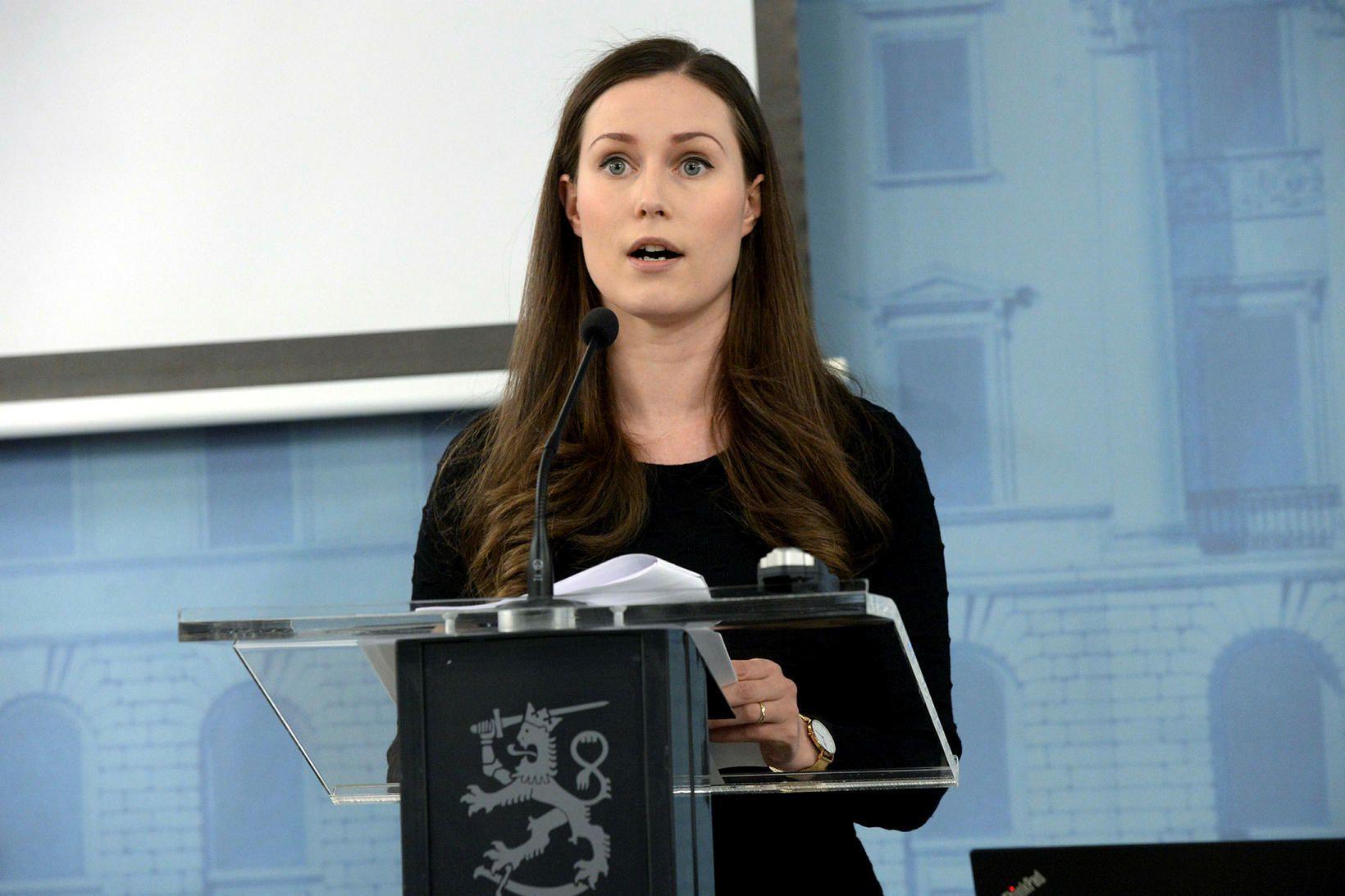 Sanna Marin, forsætisráðherra Finnlands. Í kvöld kynnti hún tillögur ríkisstjórnarinnar …