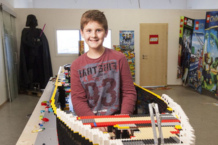 The largest Lego model of a ship in the world- eleven year old Brynjar with ...
