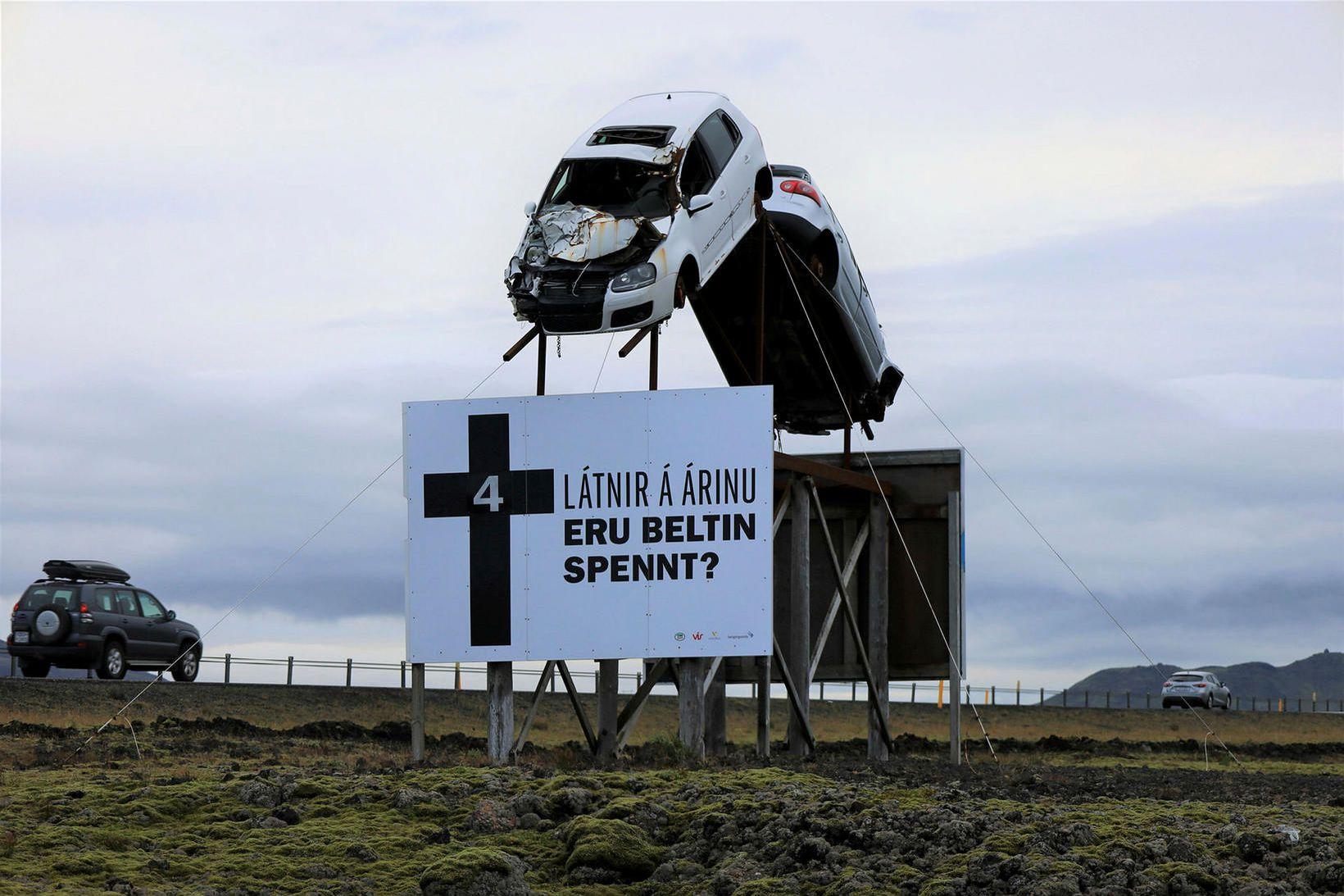 Slysaskiltið við Suðurlandsveg.
