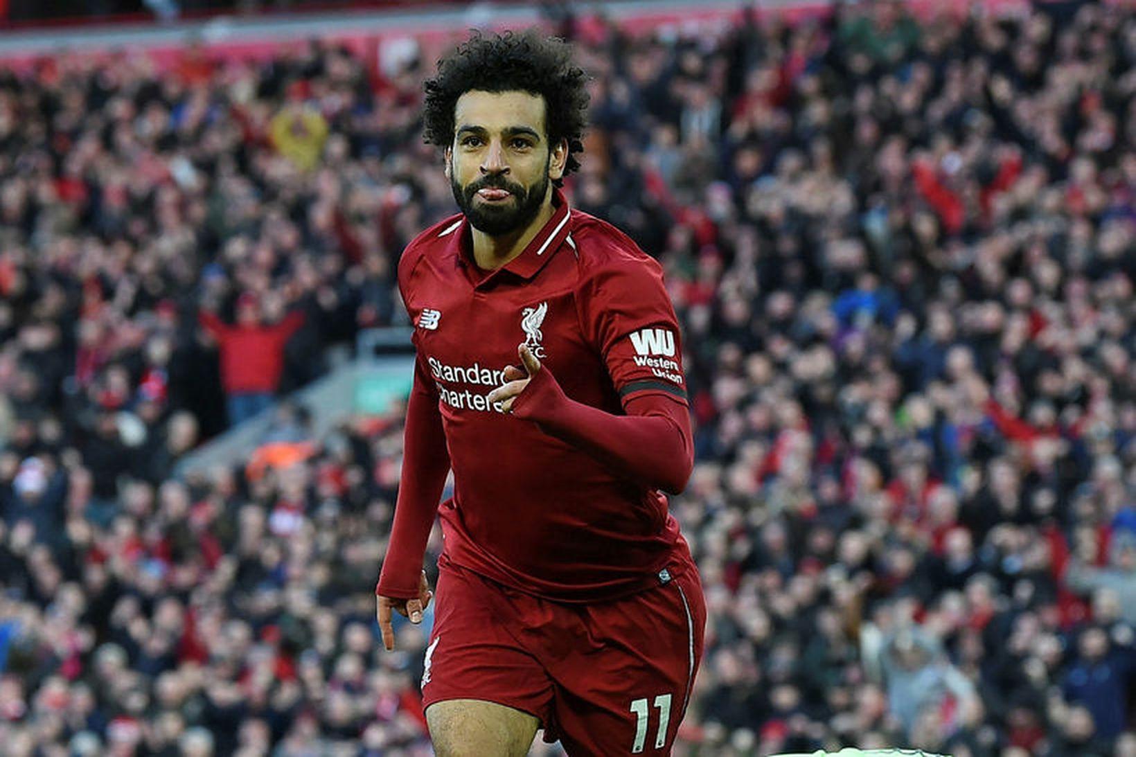 Mohamed Salah er búinn að skora 17 mörk í deildinni …