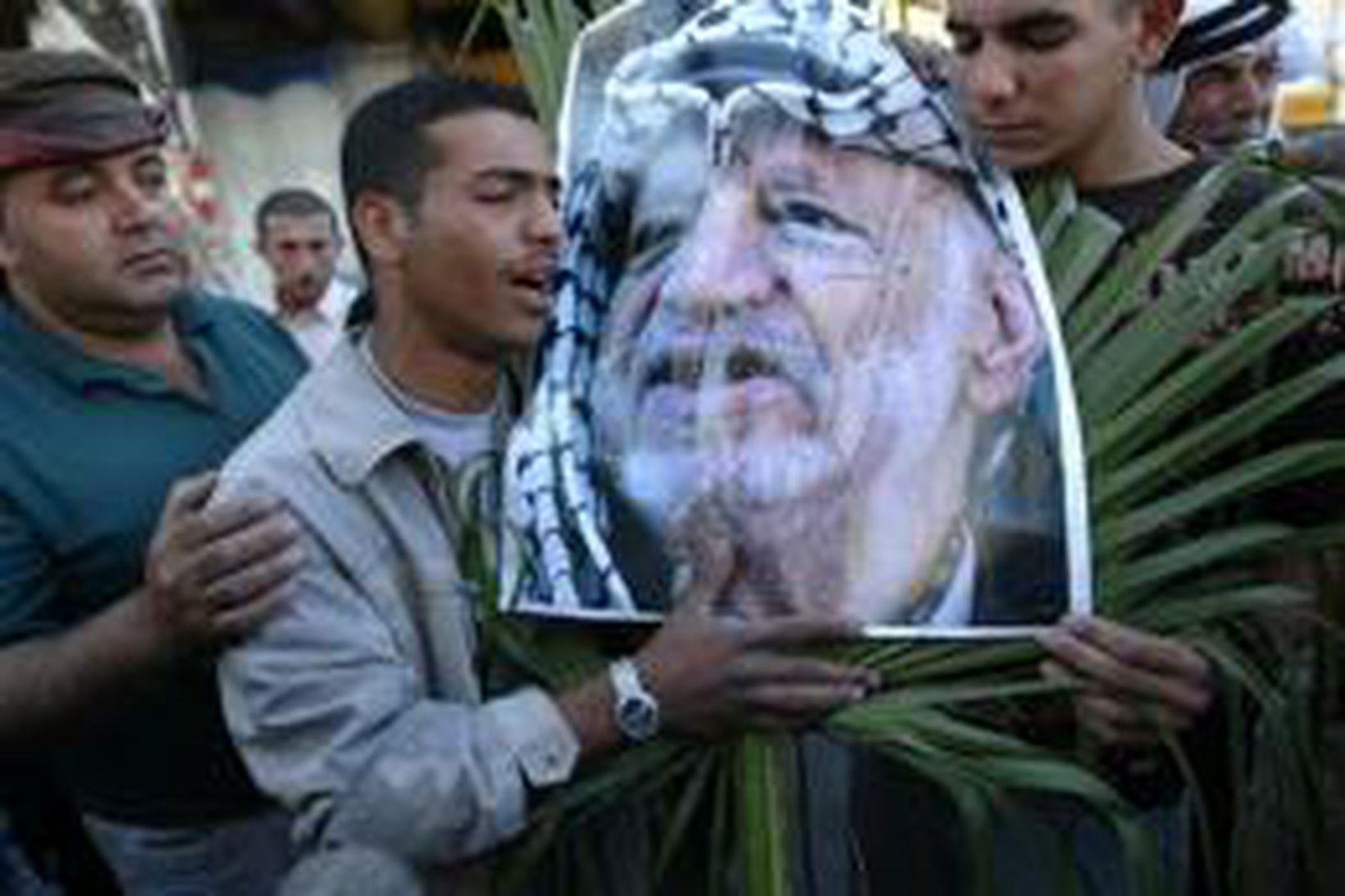 Palestínumenn með mynd af Arafat í Ramallah á Vesturbakkanum.