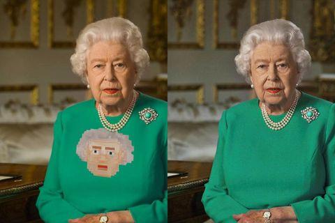 Drottningin tekur sig vel út í Daða-kjól með mynd af sér.