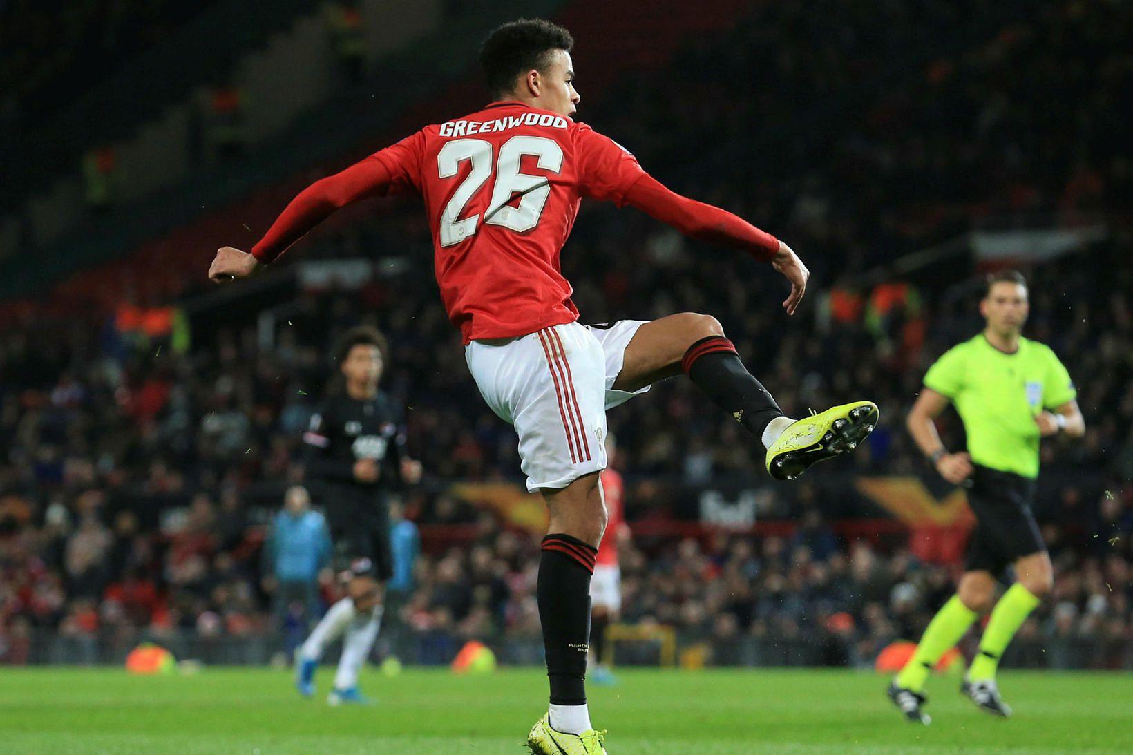 Mason Greenwood skorar fyrir Manchester United gegn AZ í Evrópudeildinni …