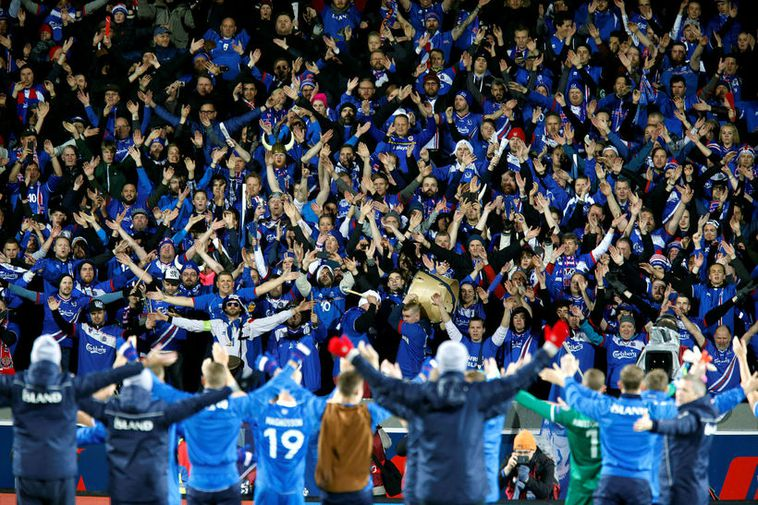 "Icelandic football fans taking the famous ""Hú"" Viking clap and chant."