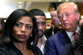 Omarosa Manigault Newman og Donald Trump Bandaríkjaforseti.