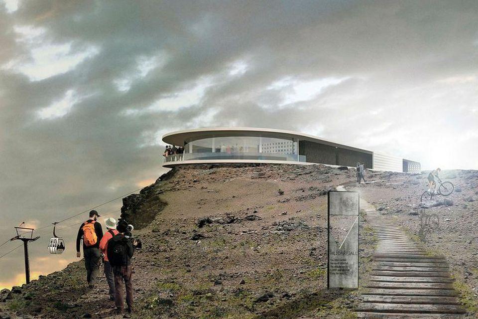 Hugmyndir eru uppi um hótel á toppi Hlíðarfjalls.