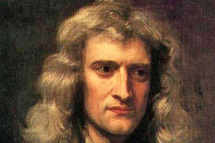 Málverk af eðlisfræðingnum Isaac Newton.
