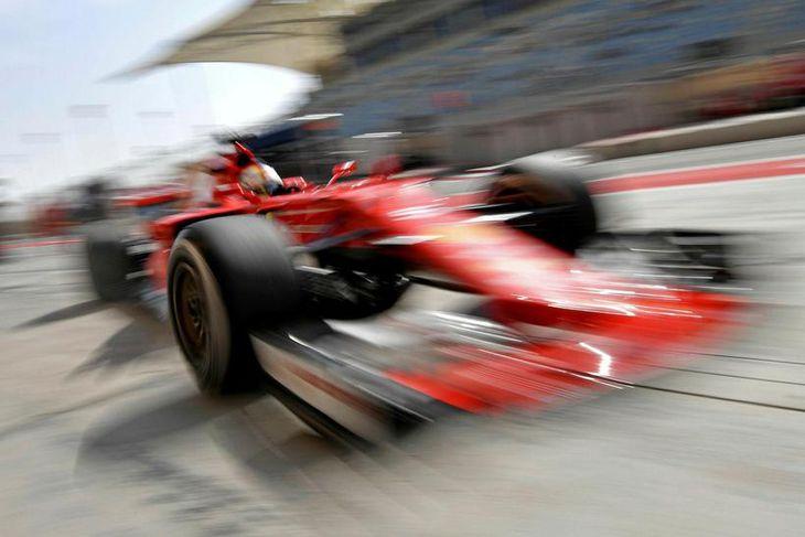 Sebastian Vettel á æfingunni í Barein.