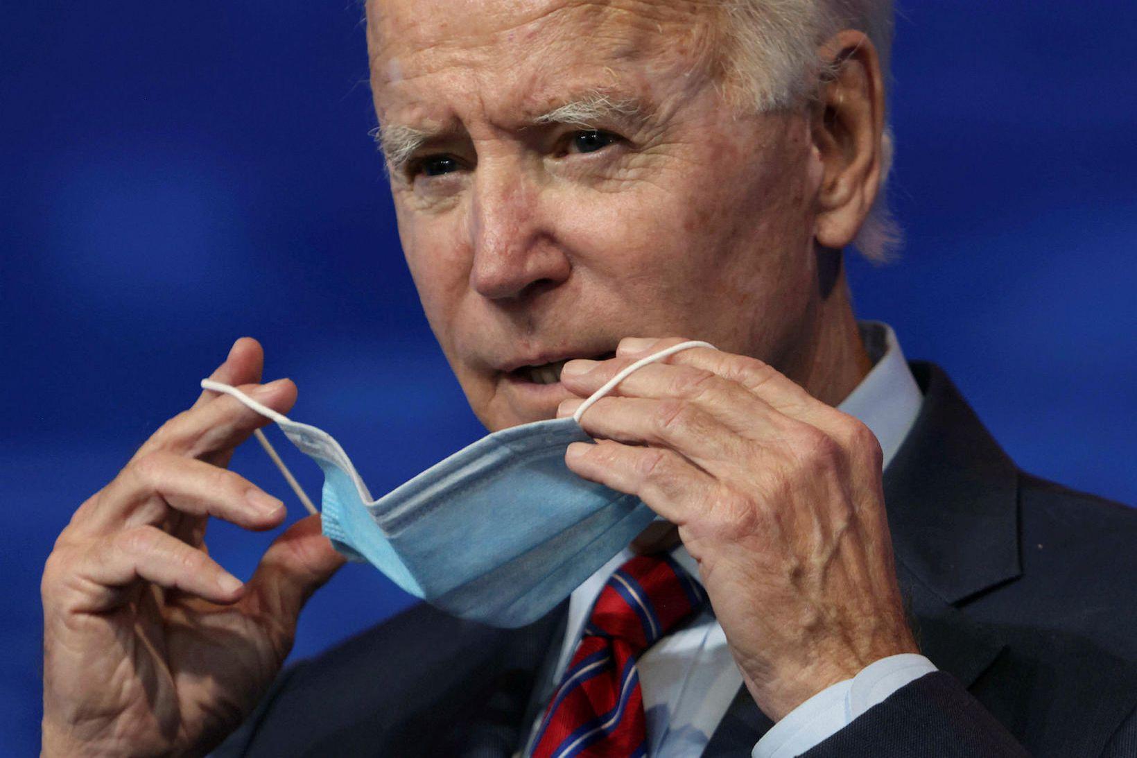 Joe Biden, kjörinn forseti Bandaríkjanna, í Delaware í gær.