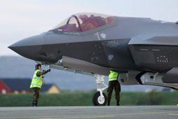 Ein hinna nýju F35A-þotna norska flughersins sem verða 52 þegar Lockheed Martin-verksmiðjurnar hafa afhent þær ...