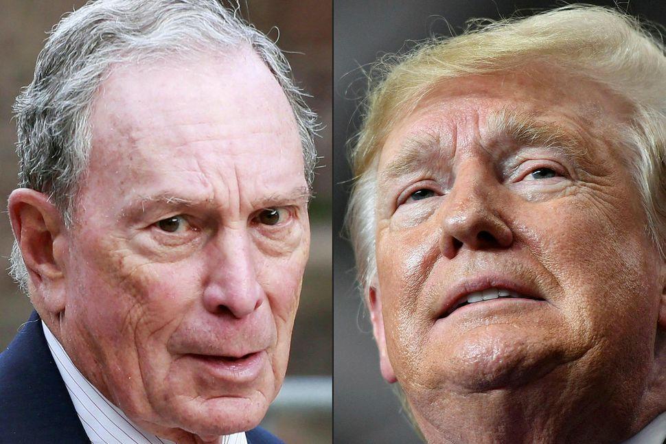 Samsett mynd af Bloomberg og Trump.