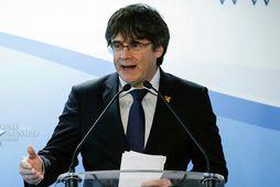 Carles Puigdemont á blaðamannafundi fyrr í mánuðinum.