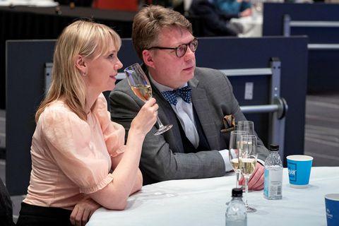 Margrét Júlíana Sigurðardóttir og Andrés Magnússon mættu saman á Kampavínsdaga á VOX.